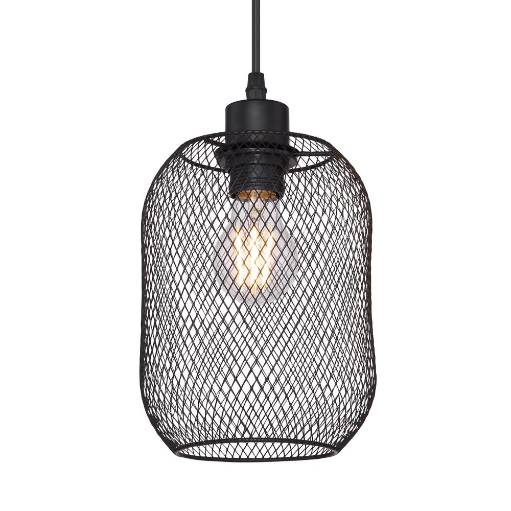 LED moderne hanglamp zwart mesh E27 fitting - lampenkap