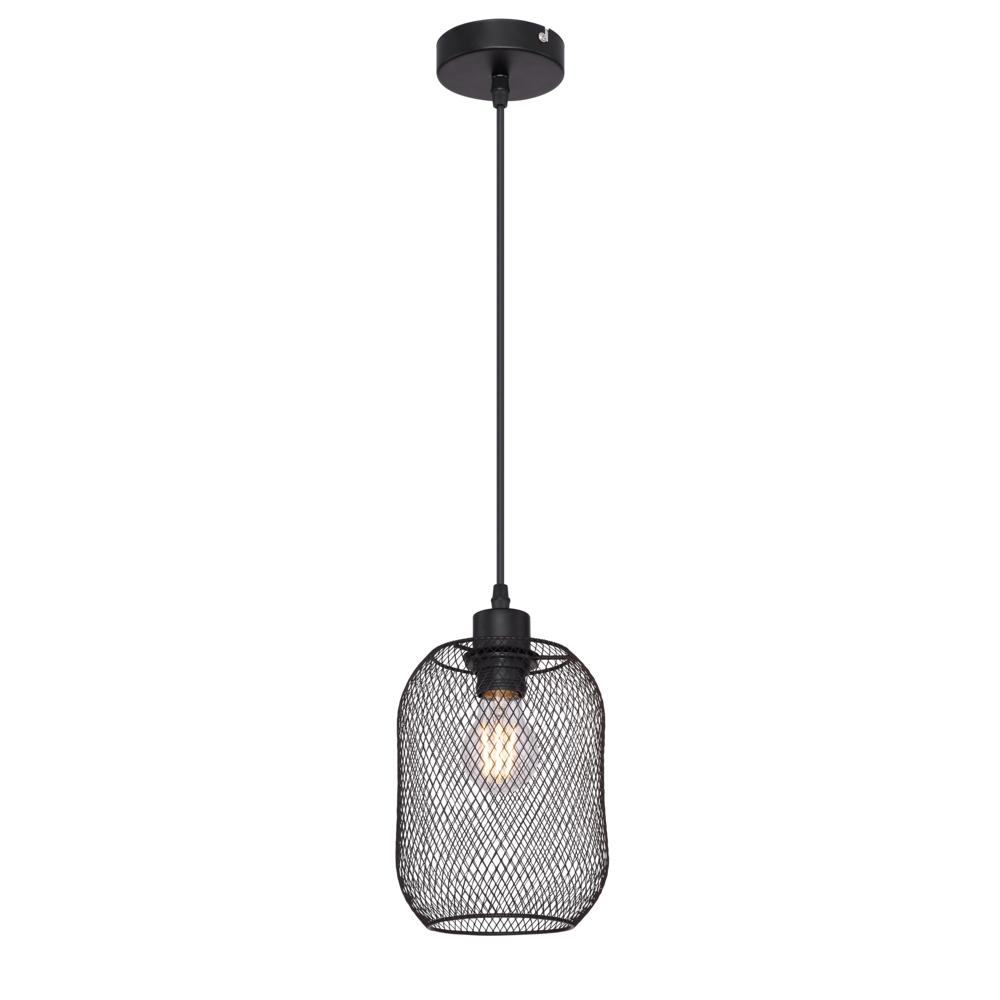 LED moderne hanglamp zwart mesh E27 fitting - vooraanzicht lamp aan