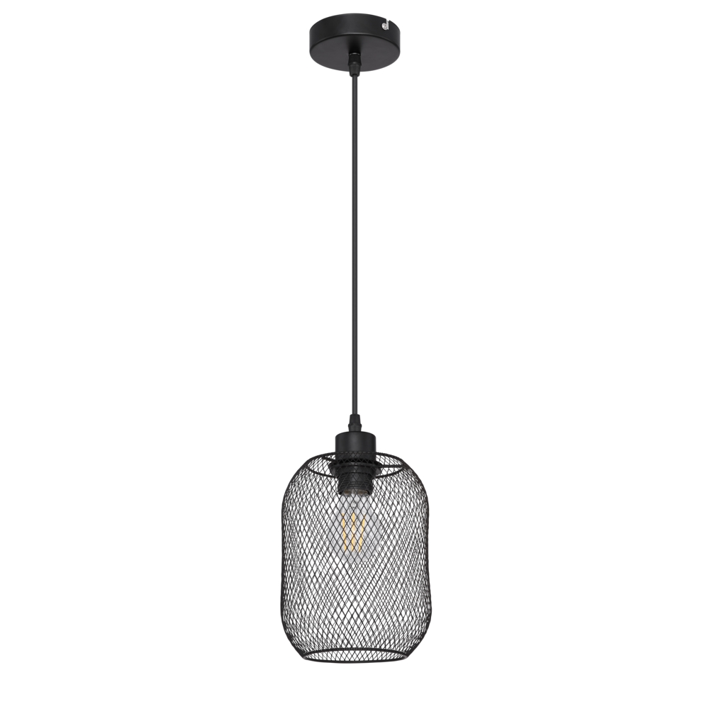 LED moderne hanglamp zwart mesh E27 fitting - vooraanzicht lamp uit