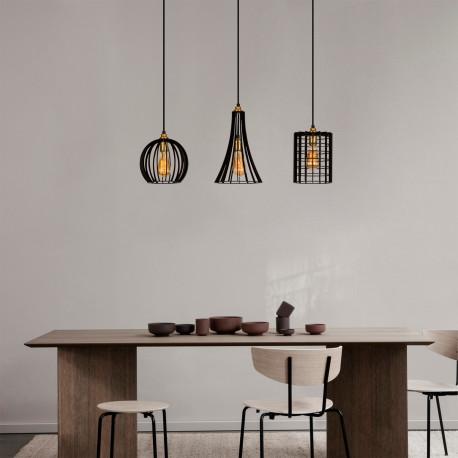 3 dubbele hanglamp zwart met verschillende lampenkappen E27 - sfeerfoto