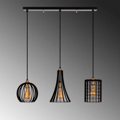 3 dubbele hanglamp zwart met verschillende lampenkappen E27
