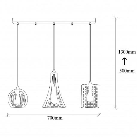 3 dubbele hanglamp zwart met verschillende lampenkappen E27 - afmetingen