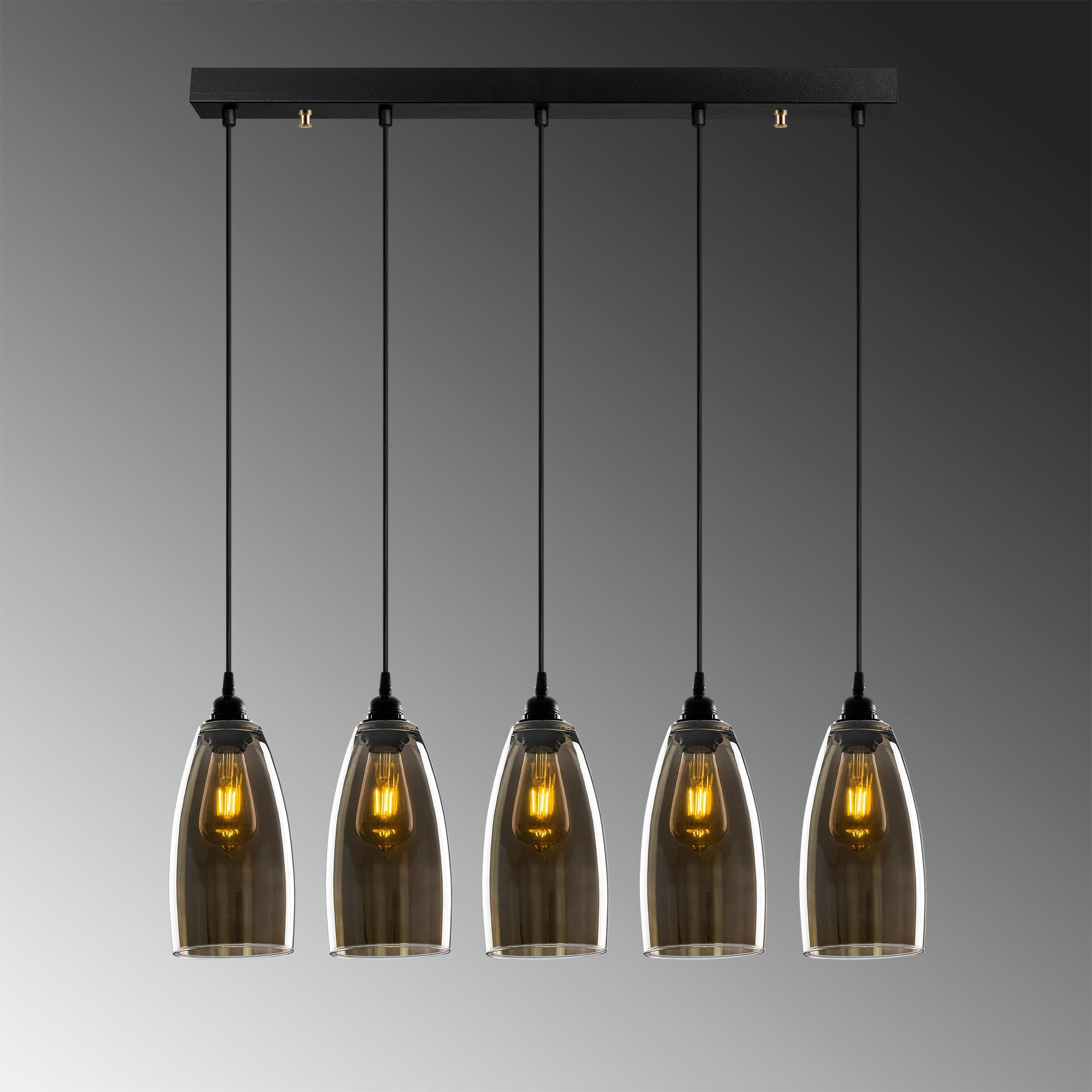 Hanglamp donker glas gerookt glas 5 keer E27 fitting - grijze achtergrond