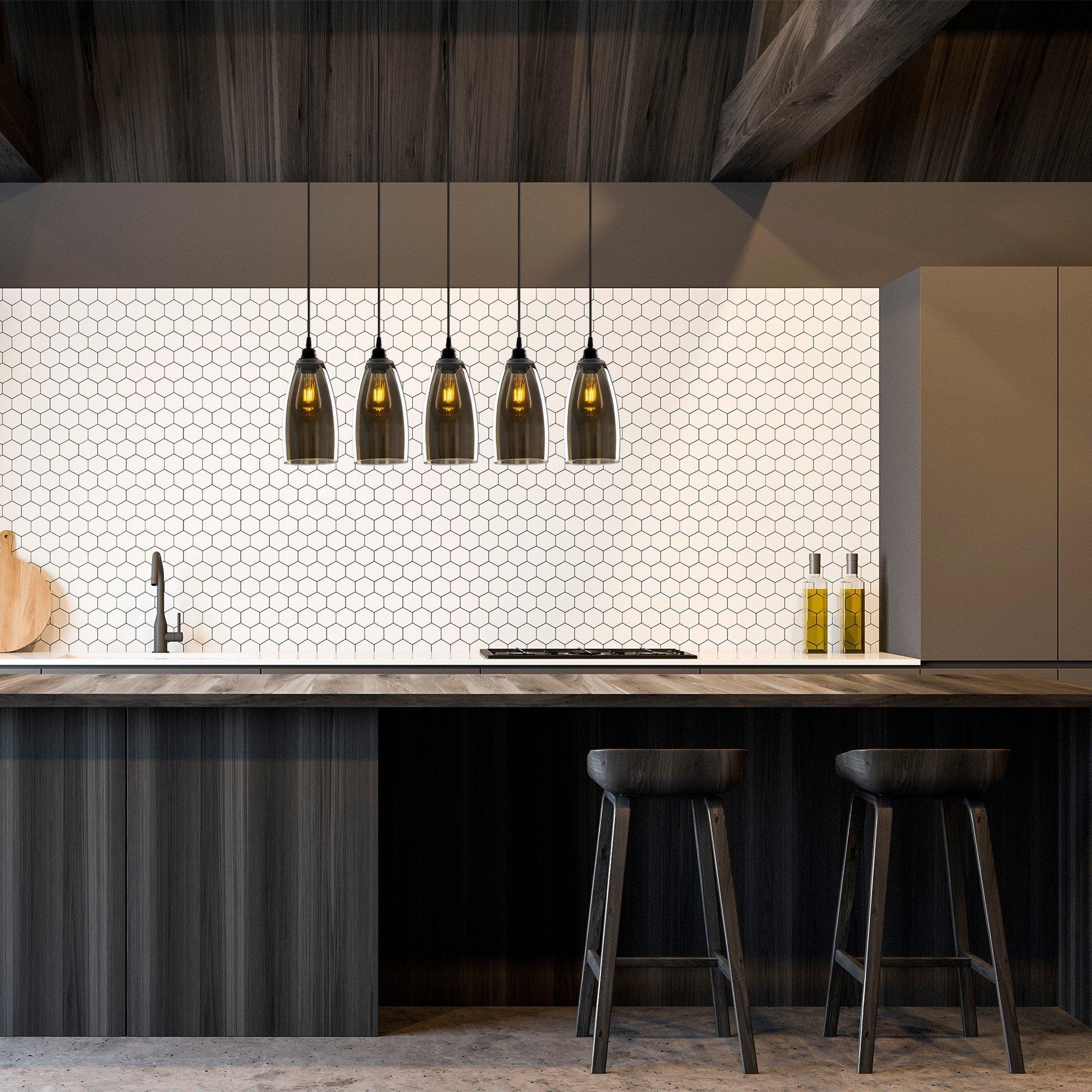 Hanglamp donker glas gerookt glas 5 keer E27 fitting - inrichting