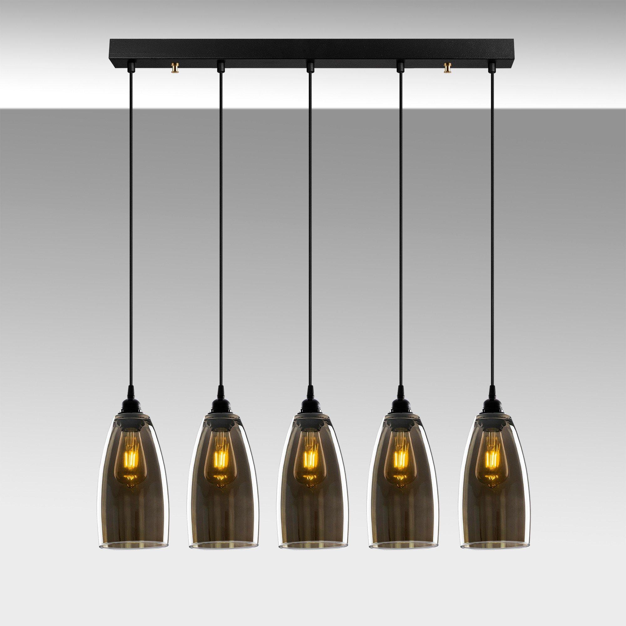 Hanglamp donker glas gerookt glas 5 keer E27 fitting - sfeerfoto