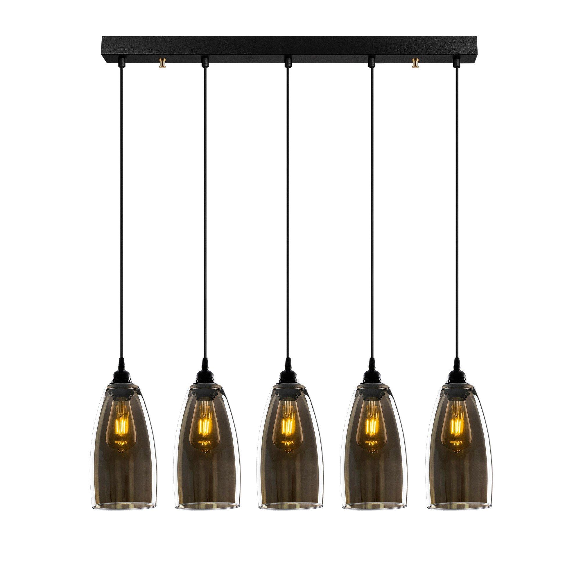 Hanglamp donker glas gerookt glas 5 keer E27 fitting - vooraanzicht lampen aan