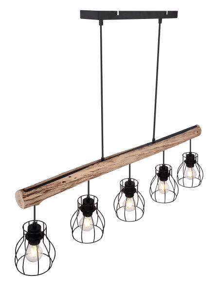 Hanglamp -5 x E27 fitting - Hout- metaal- Modern- landelijk- bovenkant