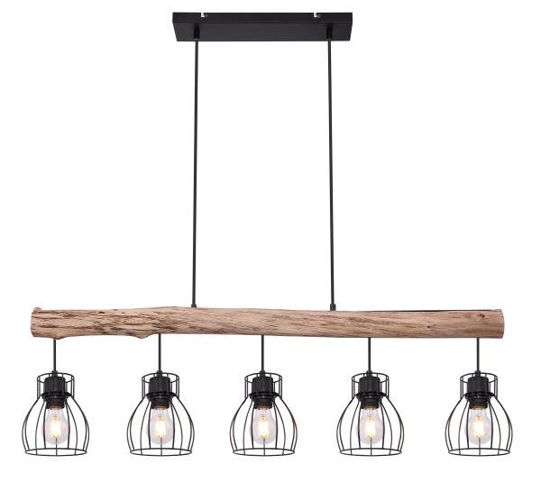Hanglamp -5 x E27 fitting - Hout- metaal- Modern- landelijk- lamp aan