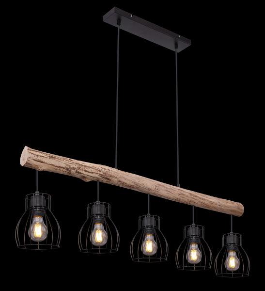 Hanglamp -5 x E27 fitting - Hout- metaal- Modern- landelijk- lamp in het donker