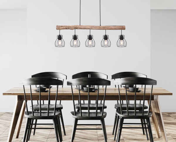 Hanglamp -5 x E27 fitting - Hout- metaal- Modern- landelijk- sfeerfoto