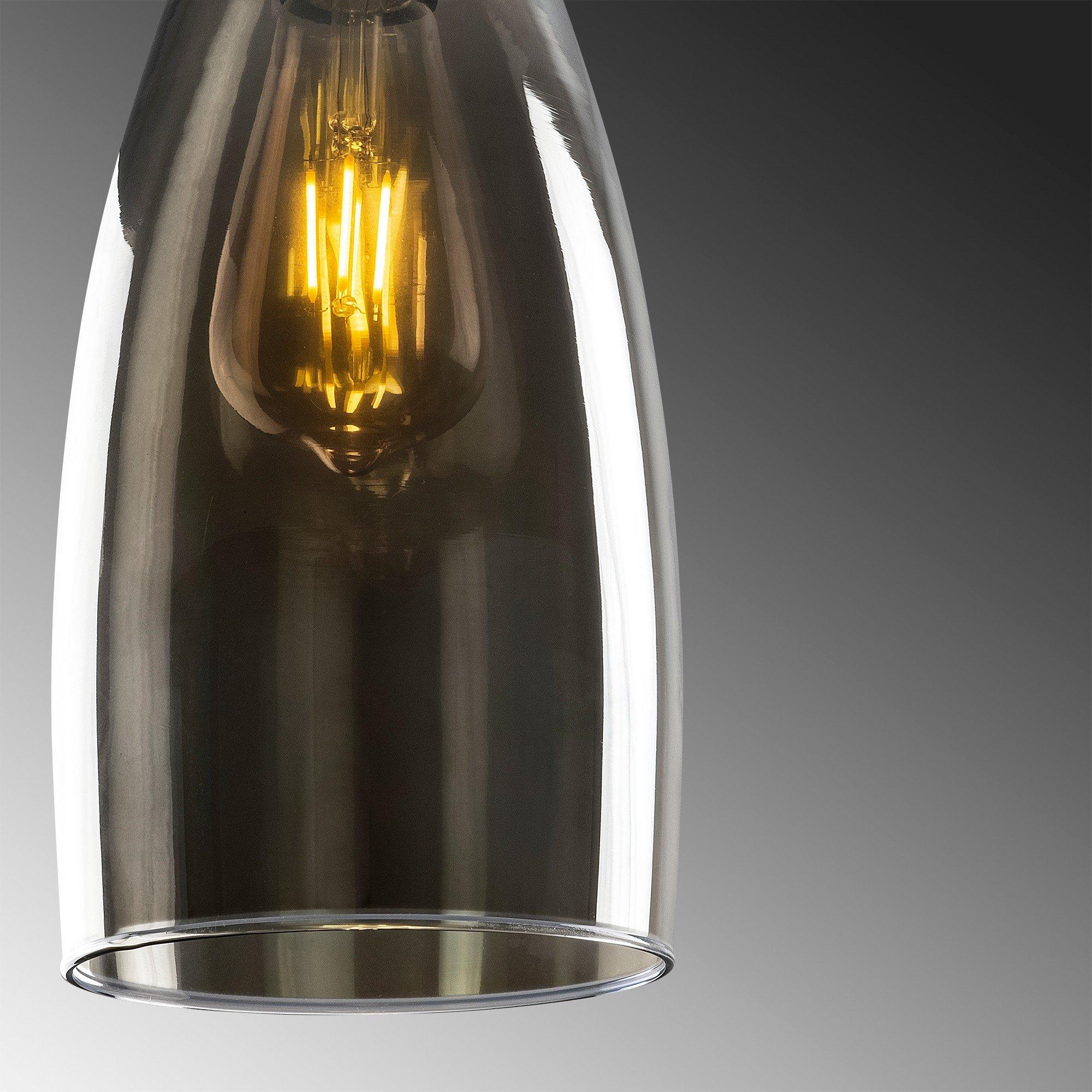 Hanglamp smoked glass donker langwerpig 5 keer een E27 fitting - closeup