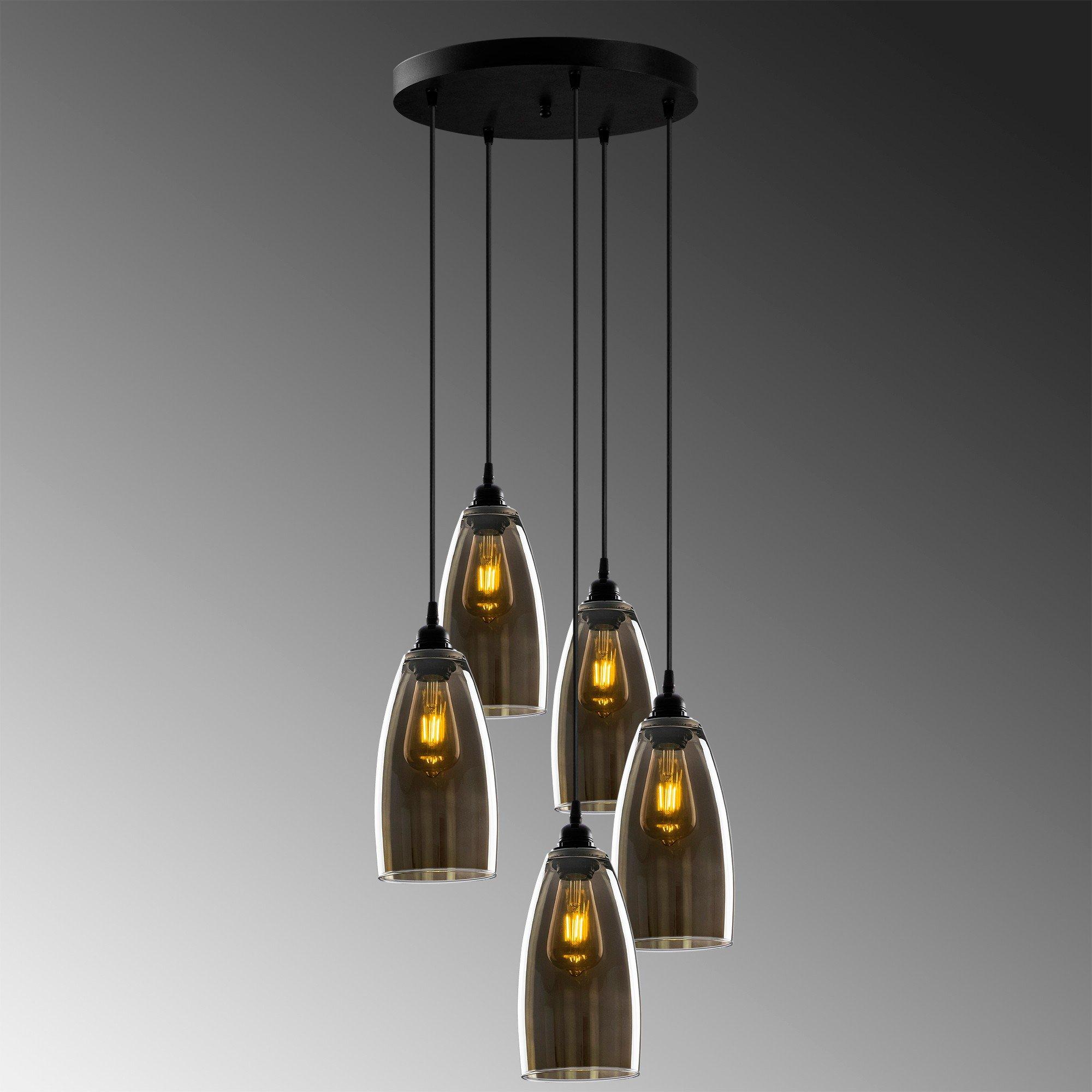 Hanglamp smoked glass donker langwerpig 5 keer een E27 fitting - grijze achtergrond