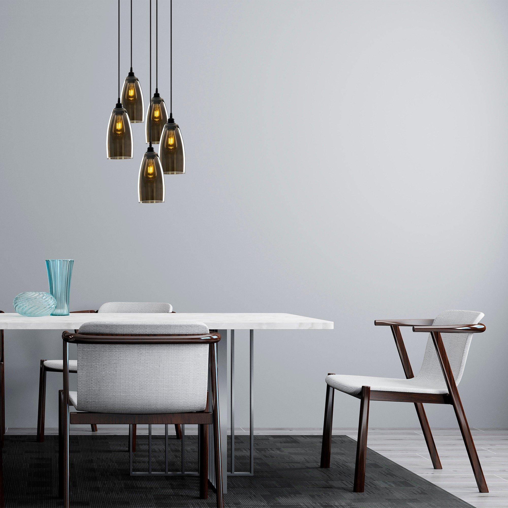 Hanglamp smoked glass donker langwerpig 5 keer een E27 fitting - inrichting