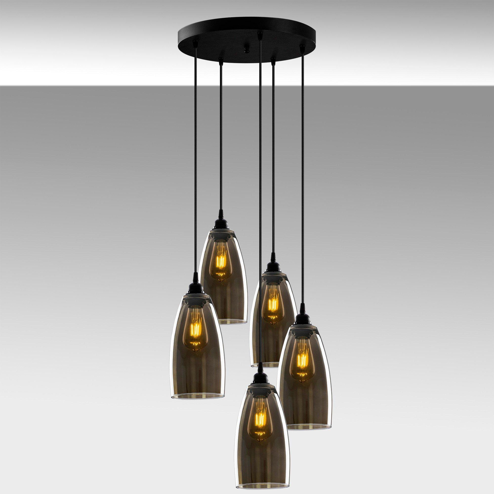 Hanglamp smoked glass donker langwerpig 5 keer een E27 fitting - sfeerfoto