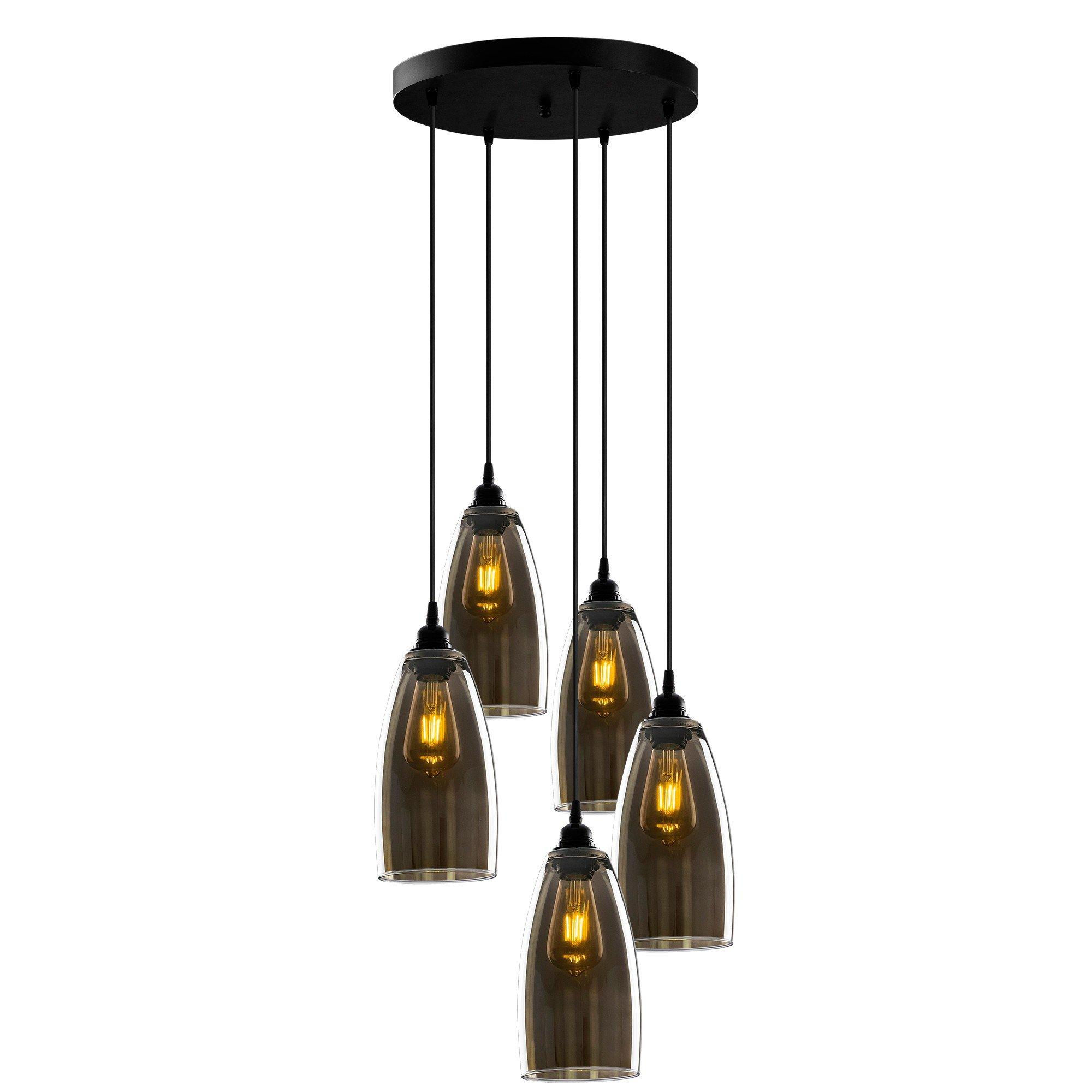 Hanglamp smoked glass donker langwerpig 5 keer een E27 fitting - vooraanzicht lampen aan