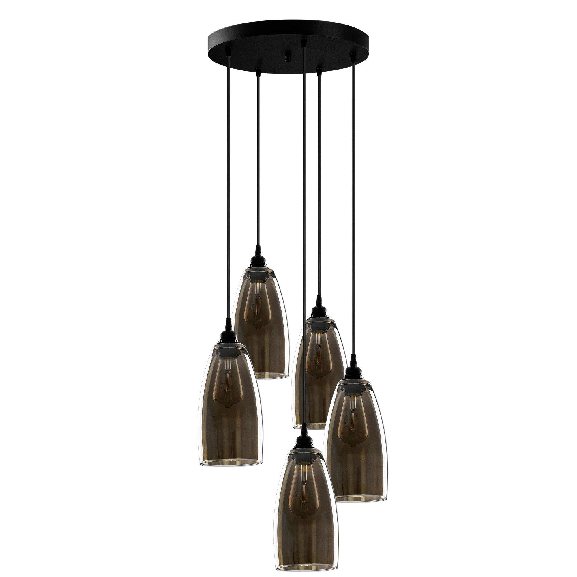 Hanglamp smoked glass donker langwerpig 5 keer een E27 fitting - vooraanzicht lampen uit