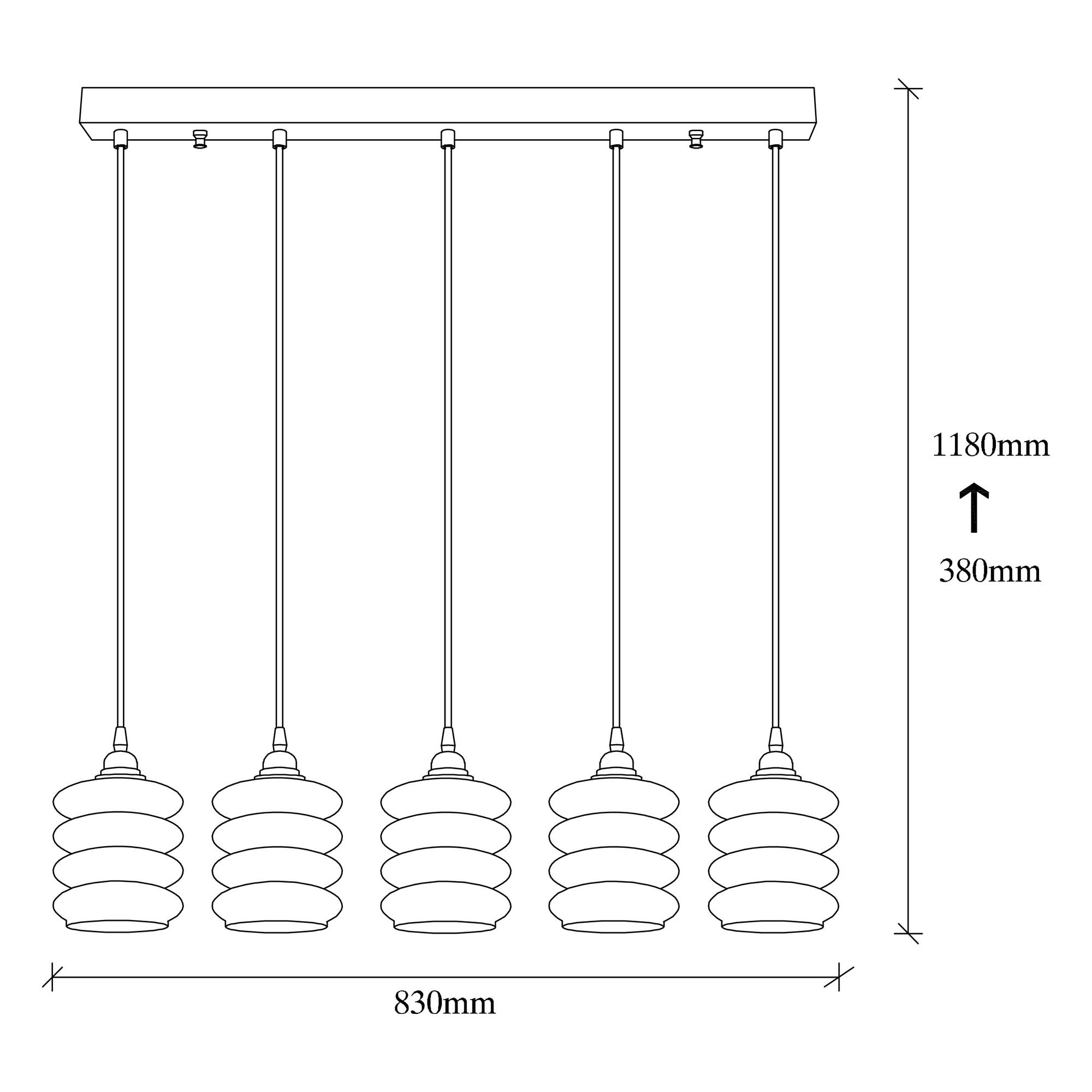 Hanglamp gerookt glas 5 keer e27 fitting IP20 - afmetingen
