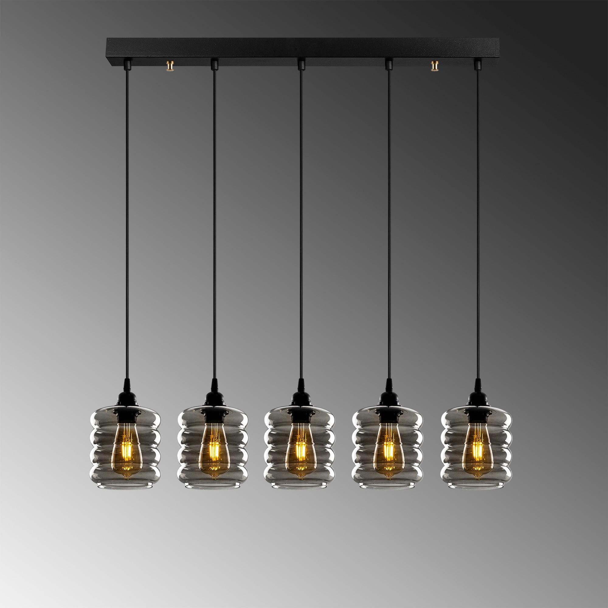 Hanglamp gerookt glas 5 keer e27 fitting IP20 - grijze achtergrond