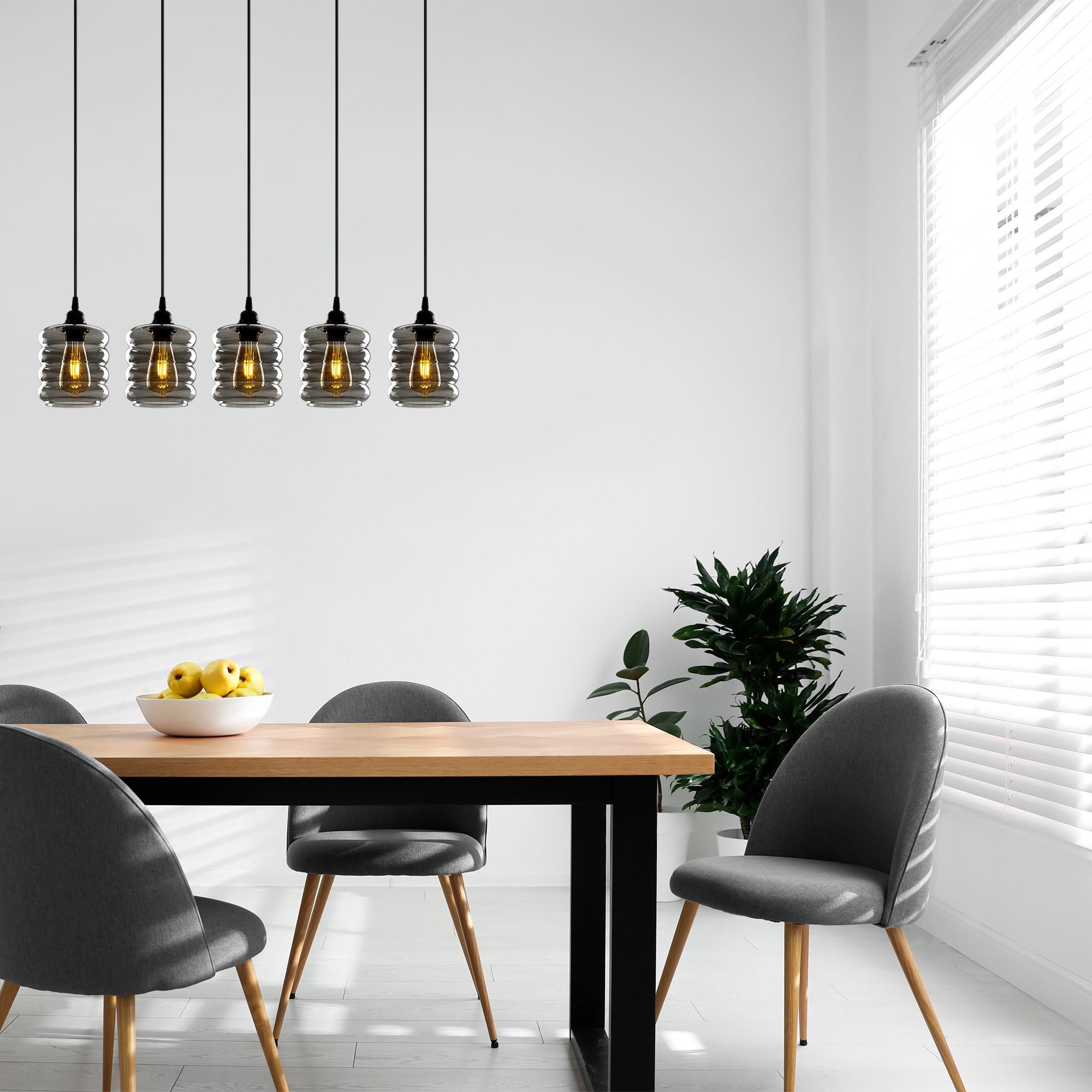 Hanglamp gerookt glas 5 keer e27 fitting IP20 - inrichting