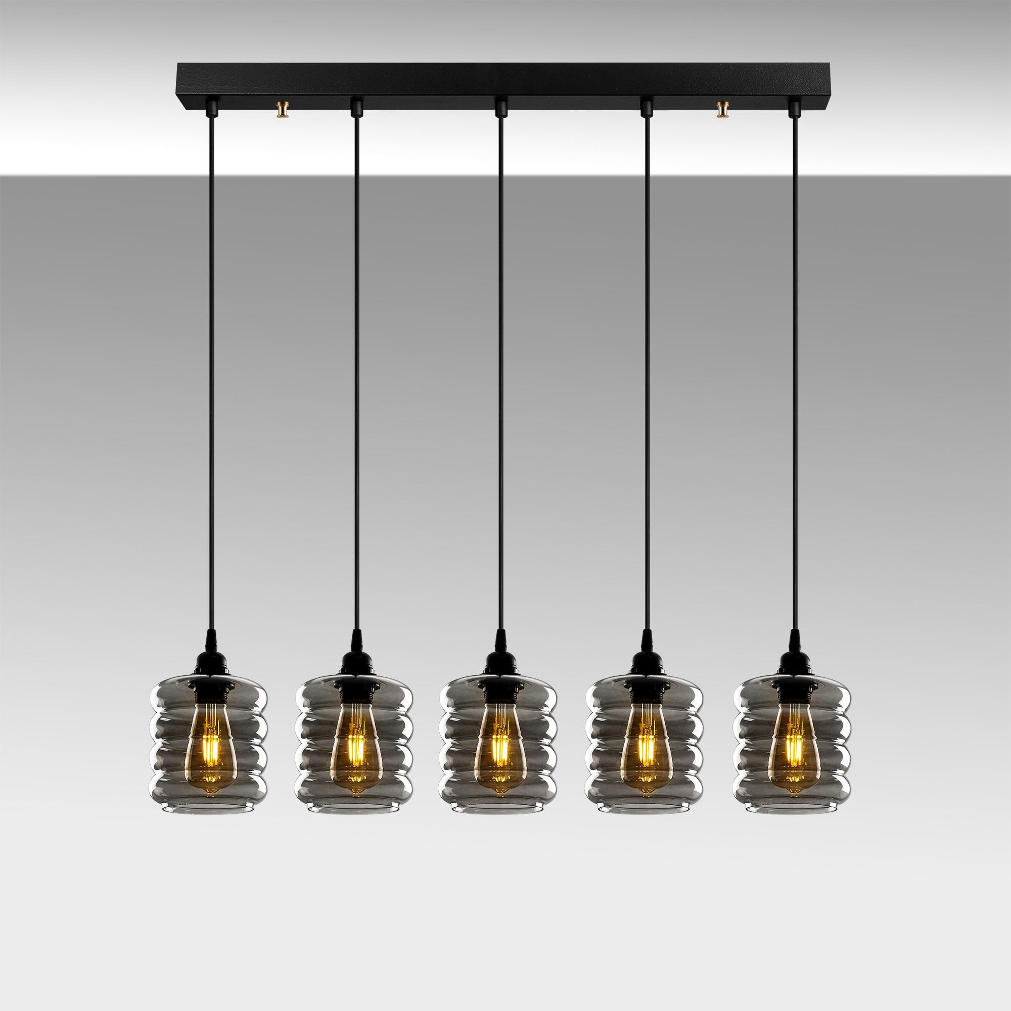Hanglamp gerookt glas 5 keer e27 fitting IP20 - sfeerfoto