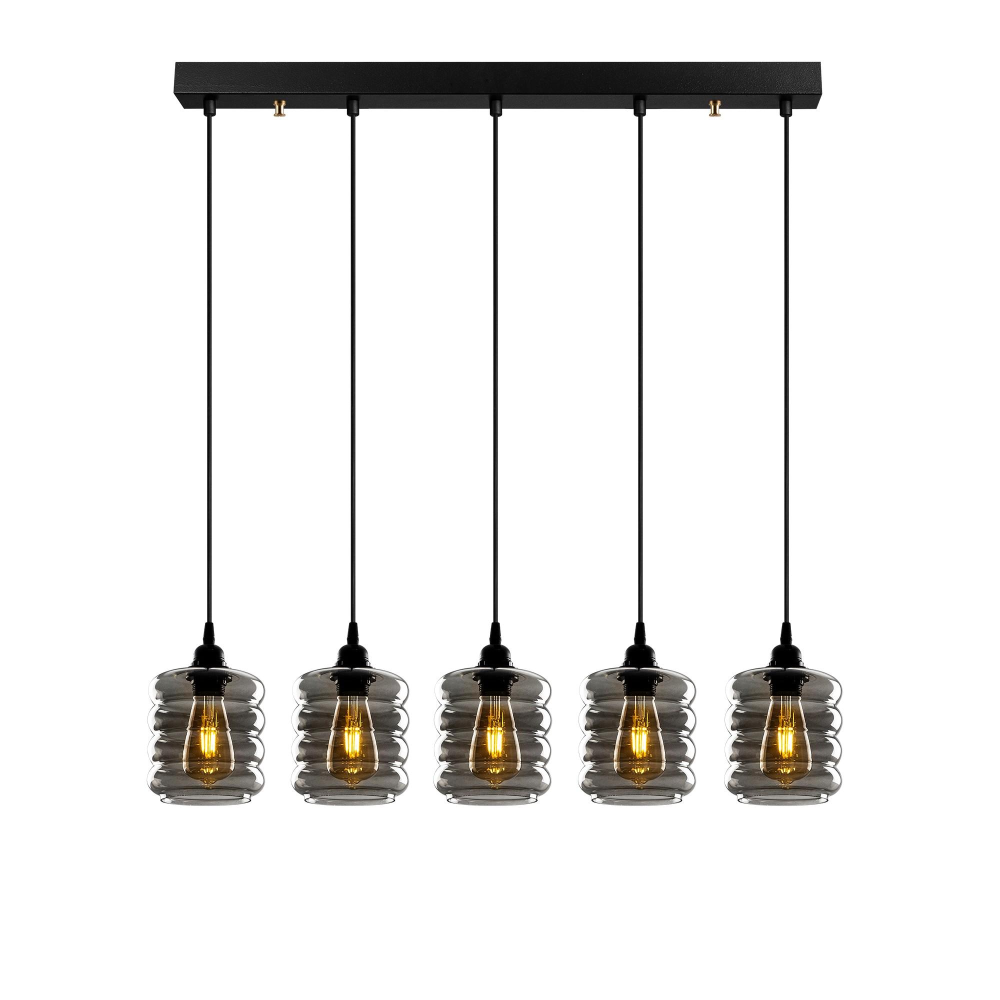 Hanglamp gerookt glas 5 keer e27 fitting IP20 - vooraanzicht lampen aan