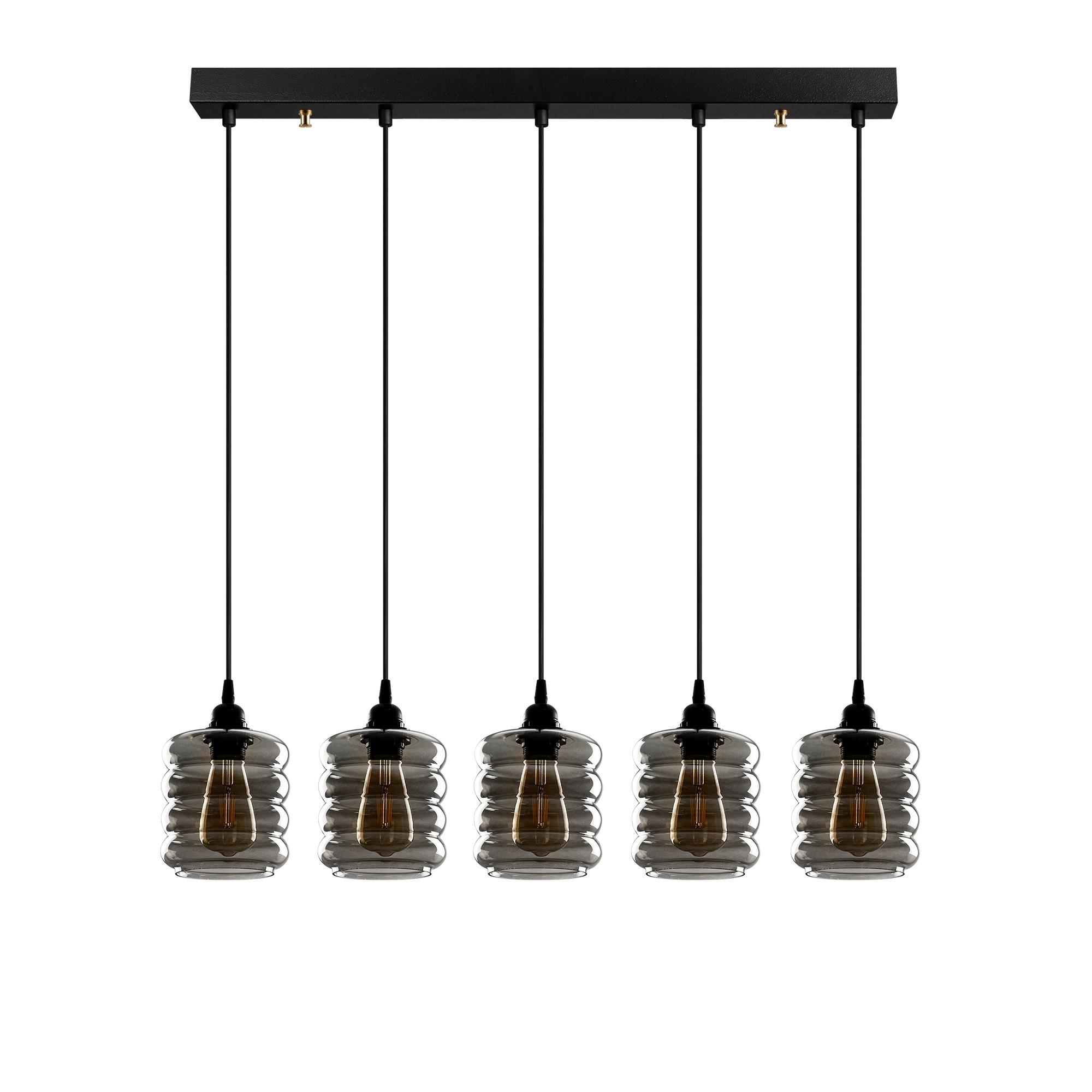 Hanglamp gerookt glas 5 keer e27 fitting IP20 - vooraanzicht lampen uit