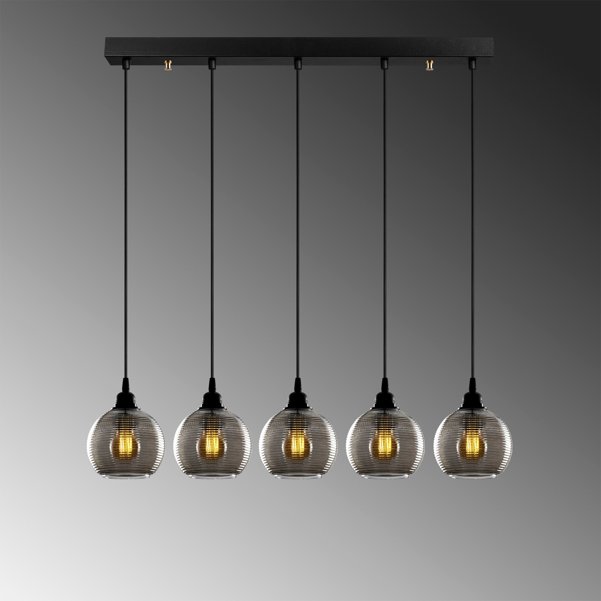 Hanglamp smoked glass lampen zwart 5 keer E27 fitting - grijze achtergrond