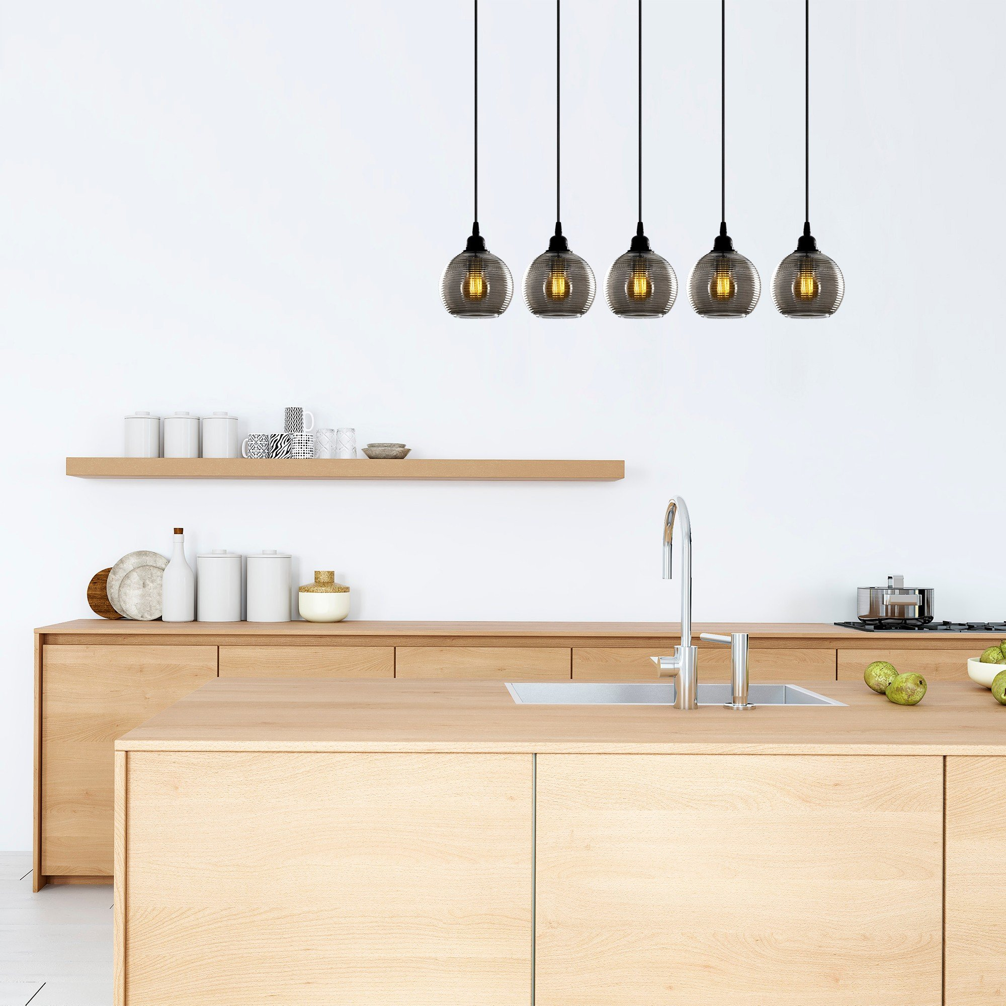 Hanglamp smoked glass lampen zwart 5 keer E27 fitting - inrichting