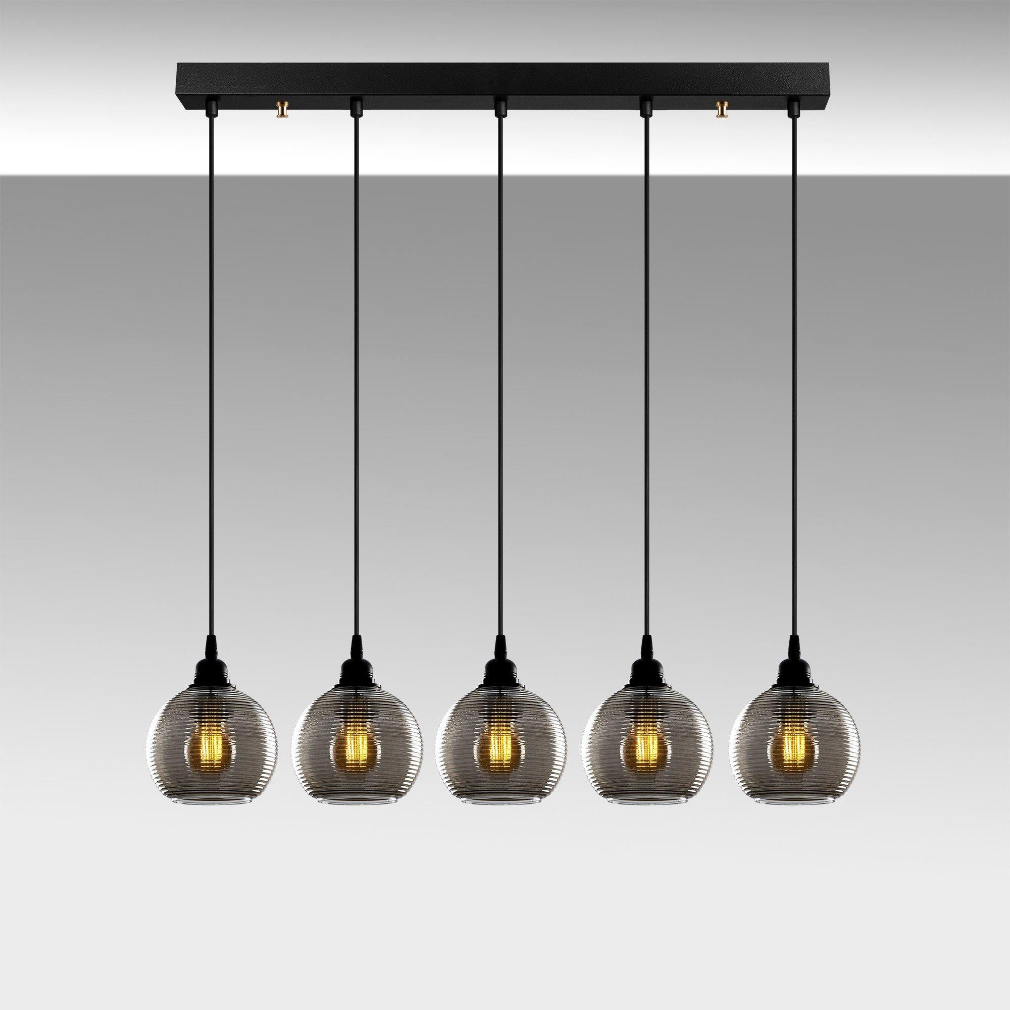 Hanglamp smoked glass lampen zwart 5 keer E27 fitting - sfeerfoto