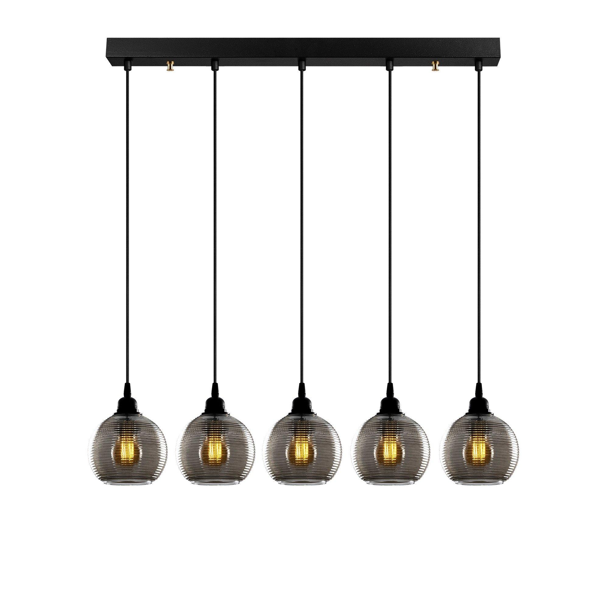 Hanglamp smoked glass lampen zwart 5 keer E27 fitting - vooraanzicht lampen aan