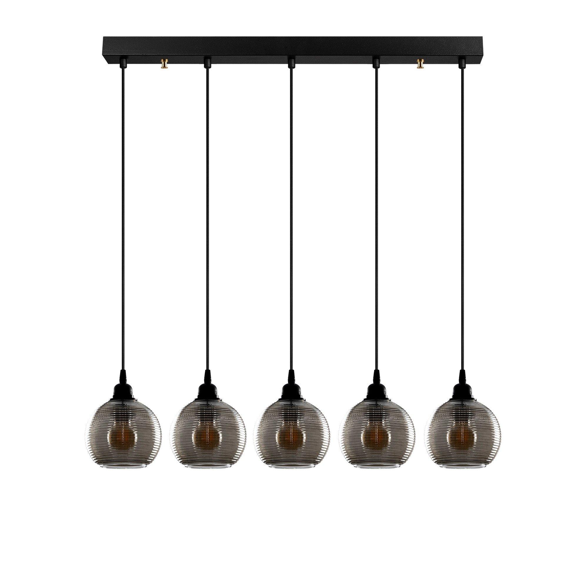 Hanglamp smoked glass lampen zwart 5 keer E27 fitting - vooraanzicht lampen uit