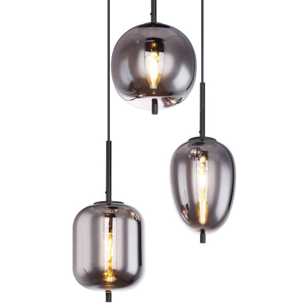 drievoudige hanglamp e14 fitting smoke glas - lampenkappen