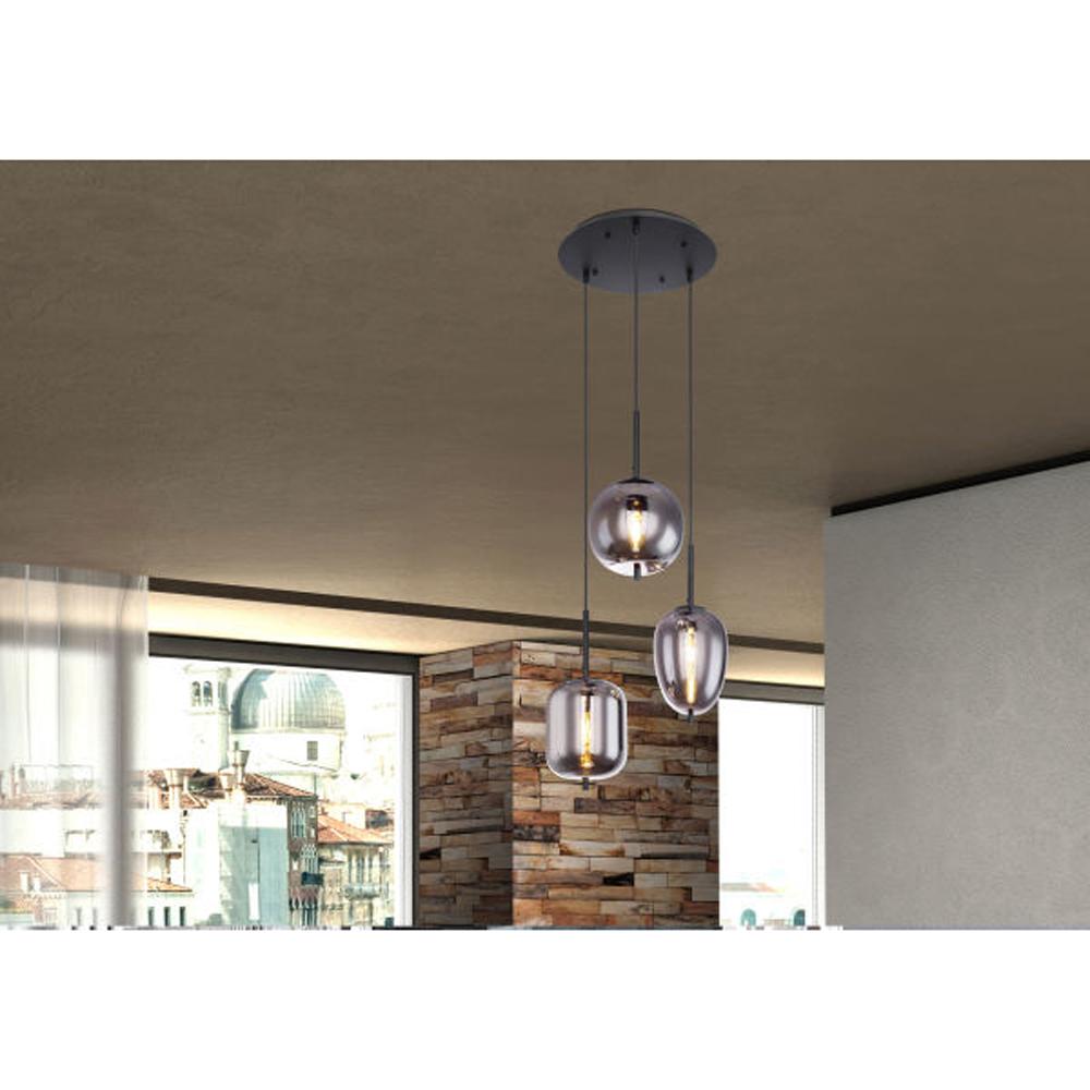 drievoudige hanglamp e14 fitting smoke glas - sfeerfoto