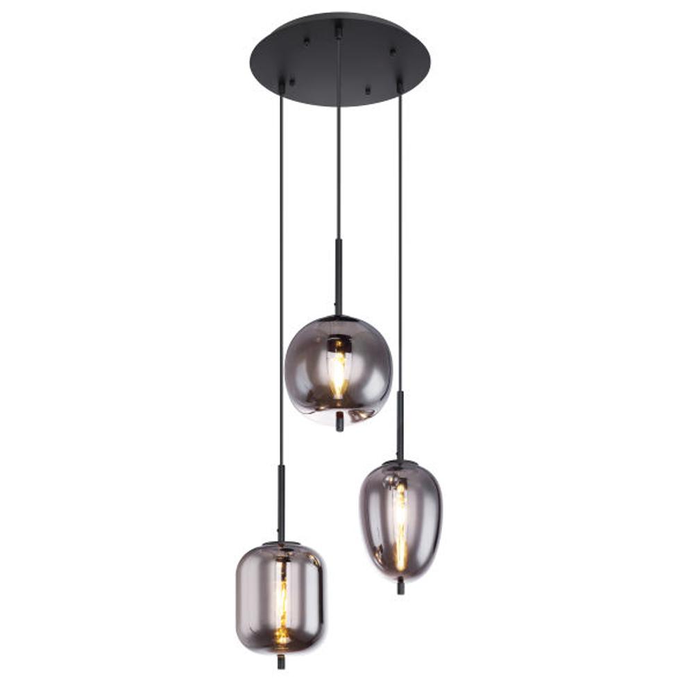 drievoudige hanglamp e14 fitting smoke glas - vooraanzicht lampen aan