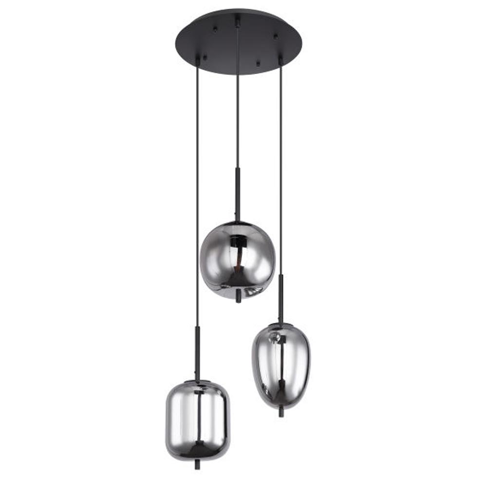 drievoudige hanglamp e14 fitting smoke glas - vooraanzicht lampen uit