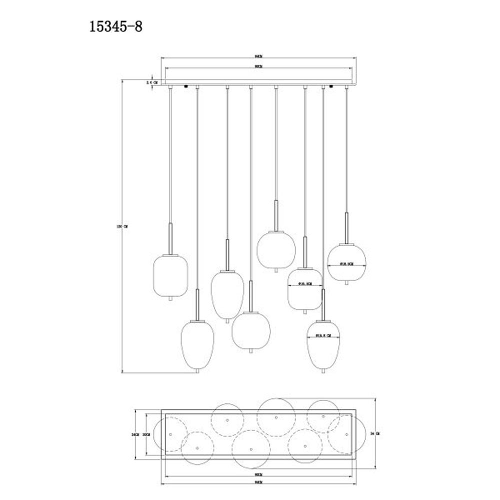 Hanglamp gerookt glas zilver zwart 8 x E14 fitting - afmetingen