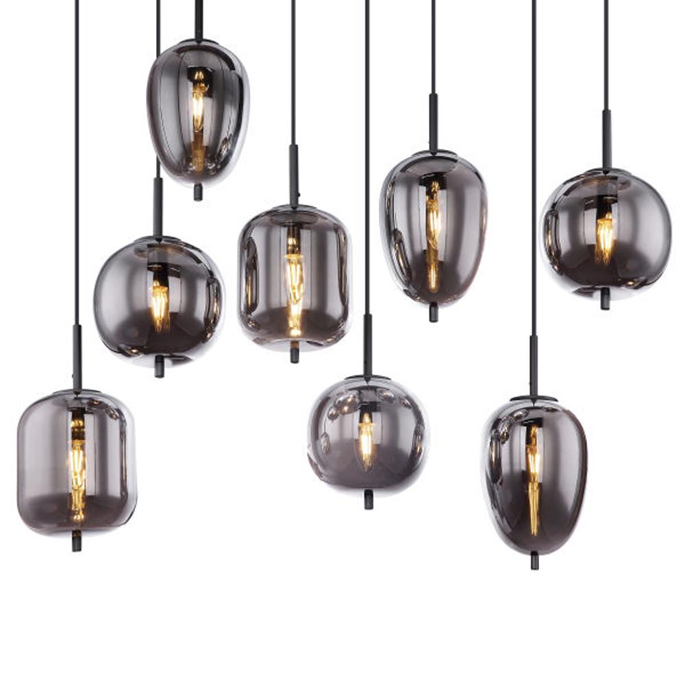 Hanglamp gerookt glas zilver zwart 8 x E14 fitting - lampenkappen