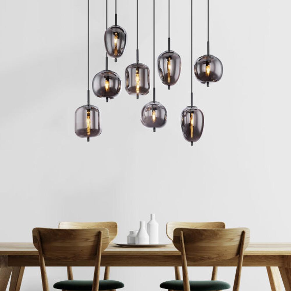 Hanglamp gerookt glas zilver zwart 8 x E14 fitting - sfeerfoto