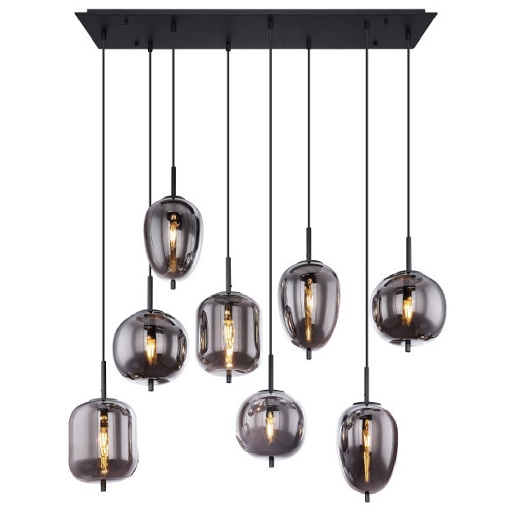 Hanglamp gerookt glas zilver zwart 8 x E14 fitting - vooraanzicht lamp aan