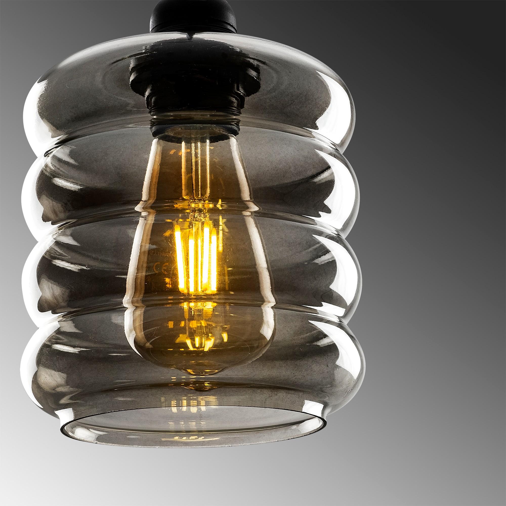Hanglamp gerookt glas 5 keer E27 fitting - closeup