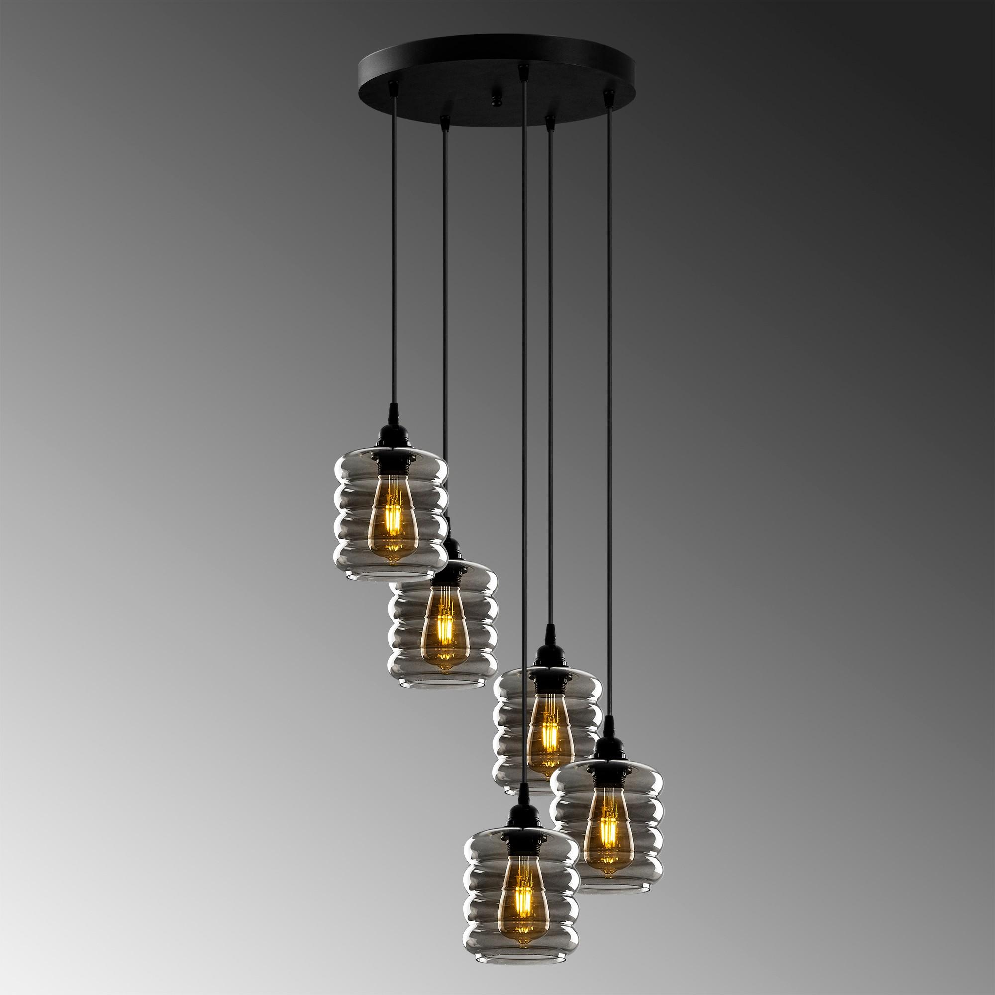 Hanglamp gerookt glas 5 keer E27 fitting - grijze achtergrond
