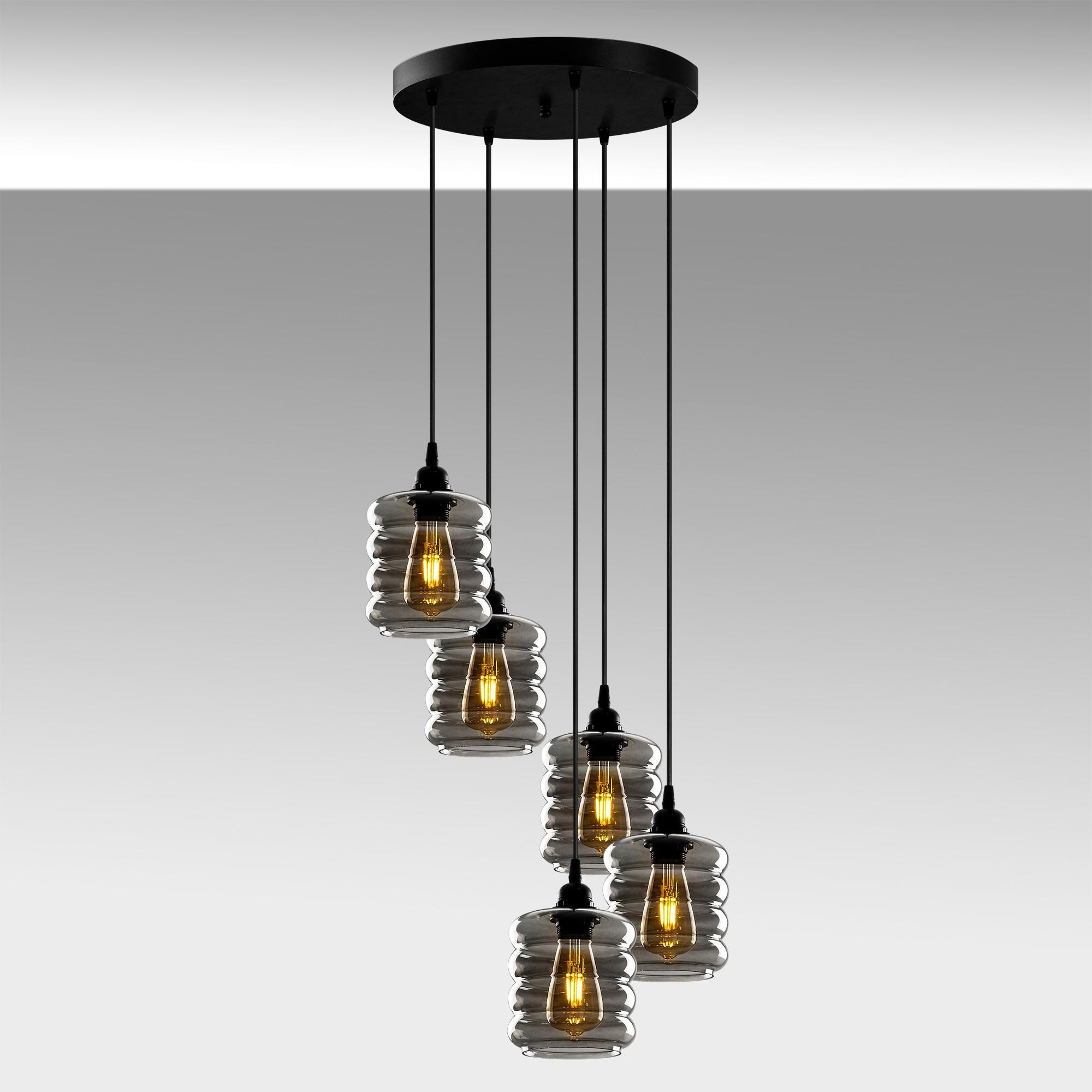 Hanglamp gerookt glas 5 keer E27 fitting - sfeerfoto