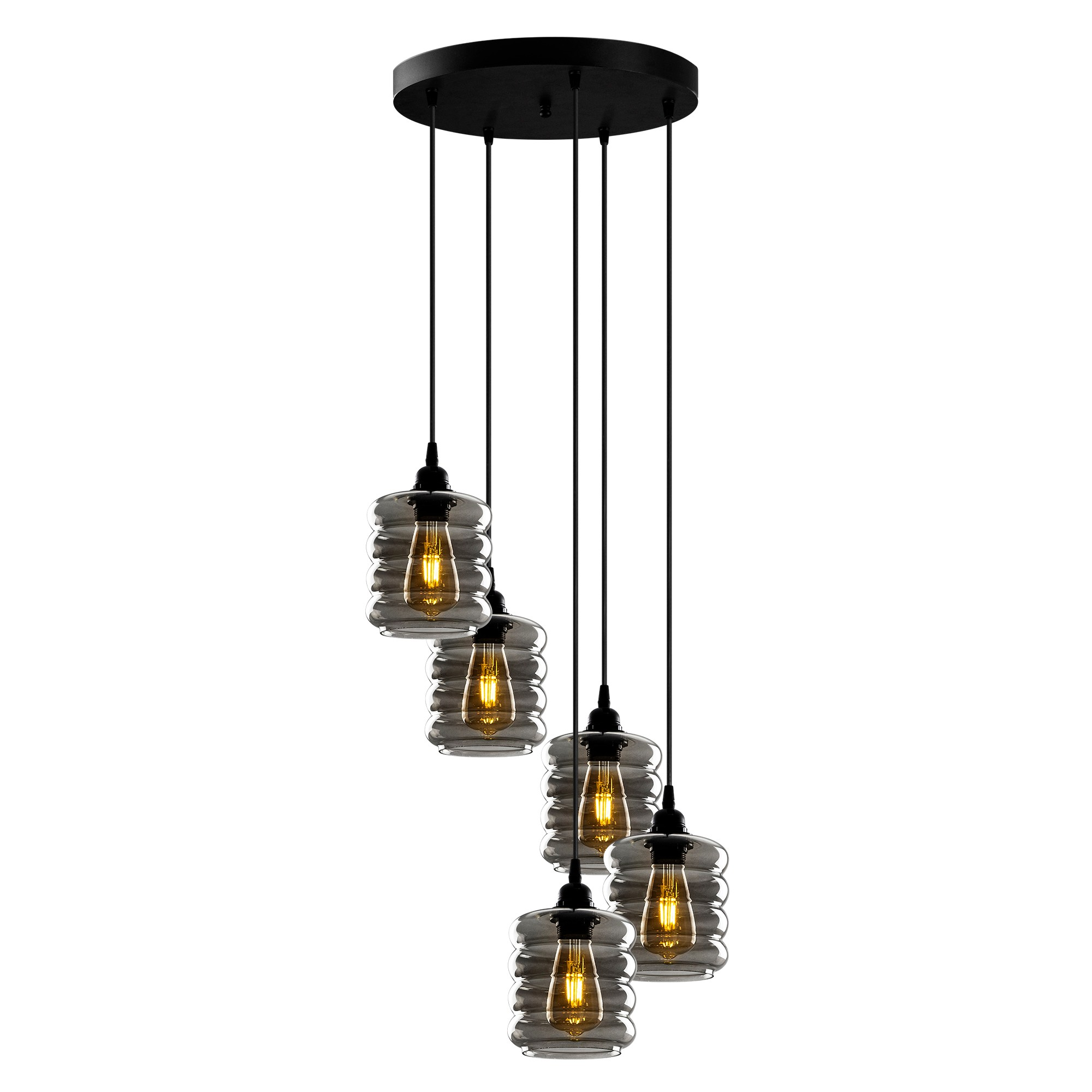 Hanglamp gerookt glas 5 keer E27 fitting - vooraanzicht lampen aan