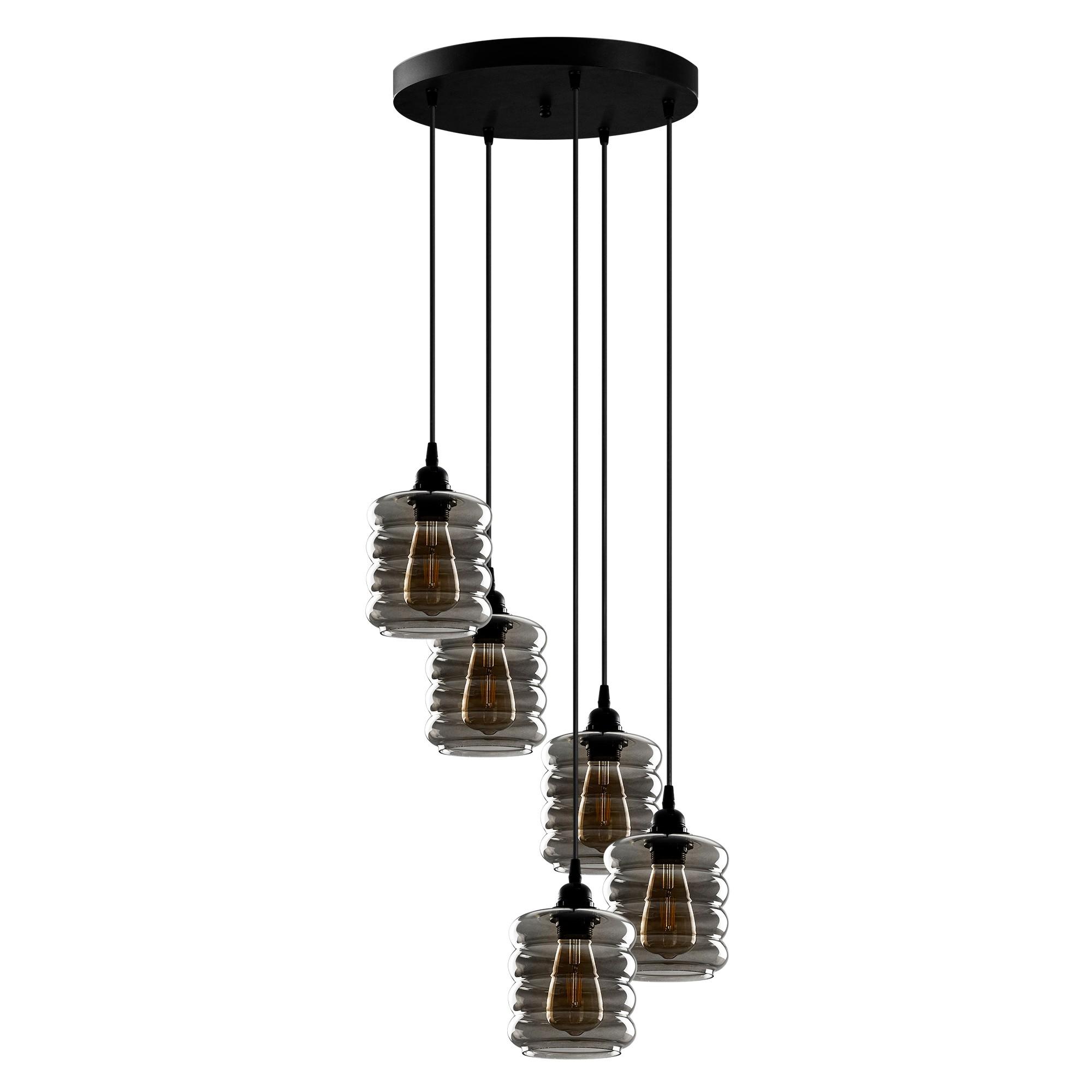 Hanglamp gerookt glas 5 keer E27 fitting - vooraanzicht lampen uit