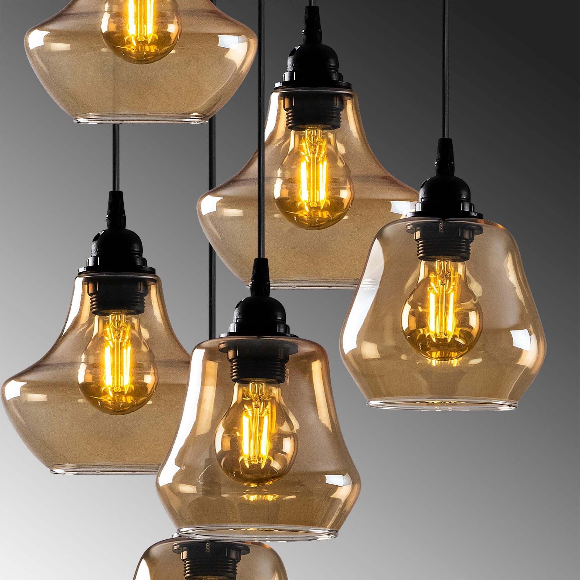Hanglamp golden glass - goud glas 7 x E27 fitting - closeup