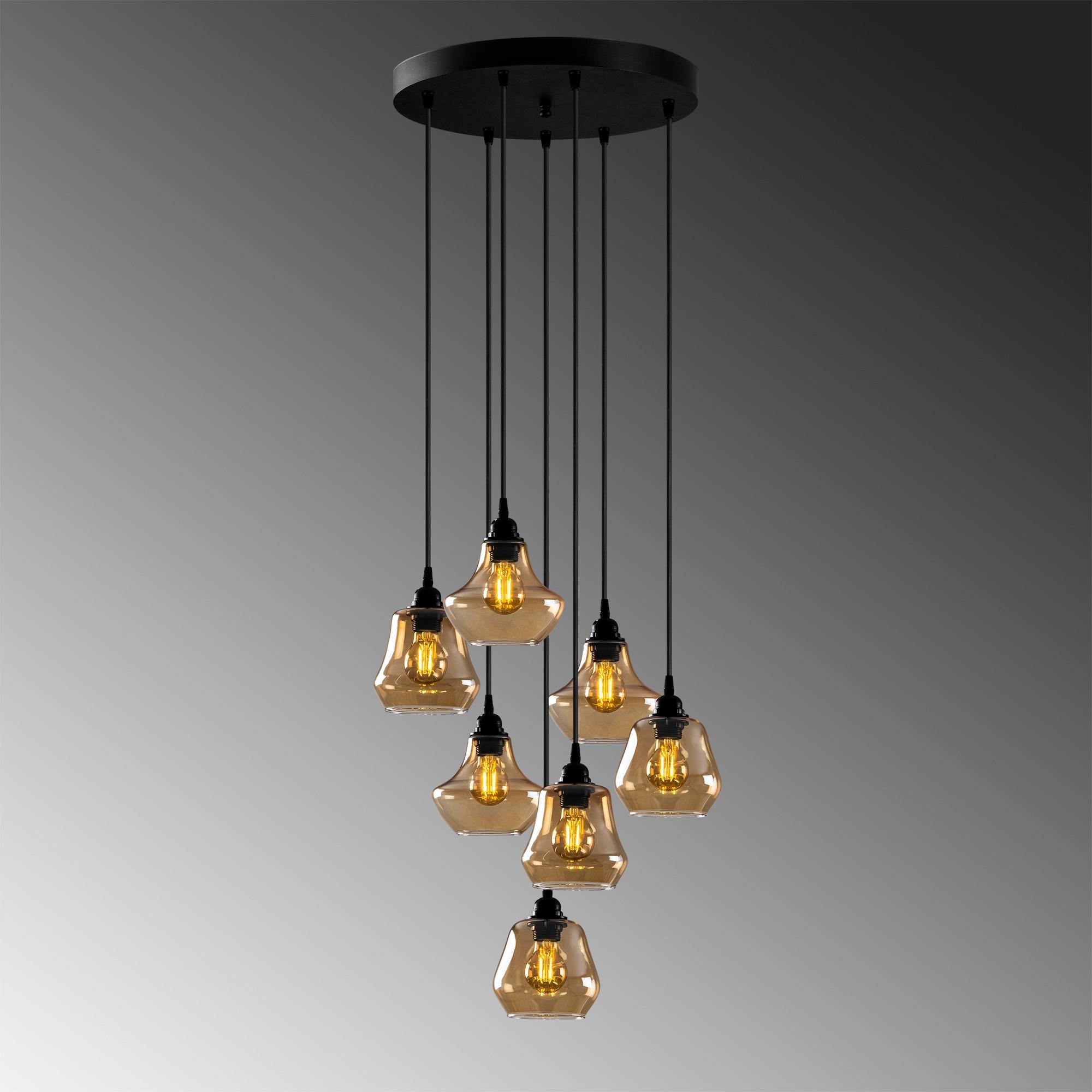 Hanglamp golden glass - goud glas 7 x E27 fitting - grijze achtergrond
