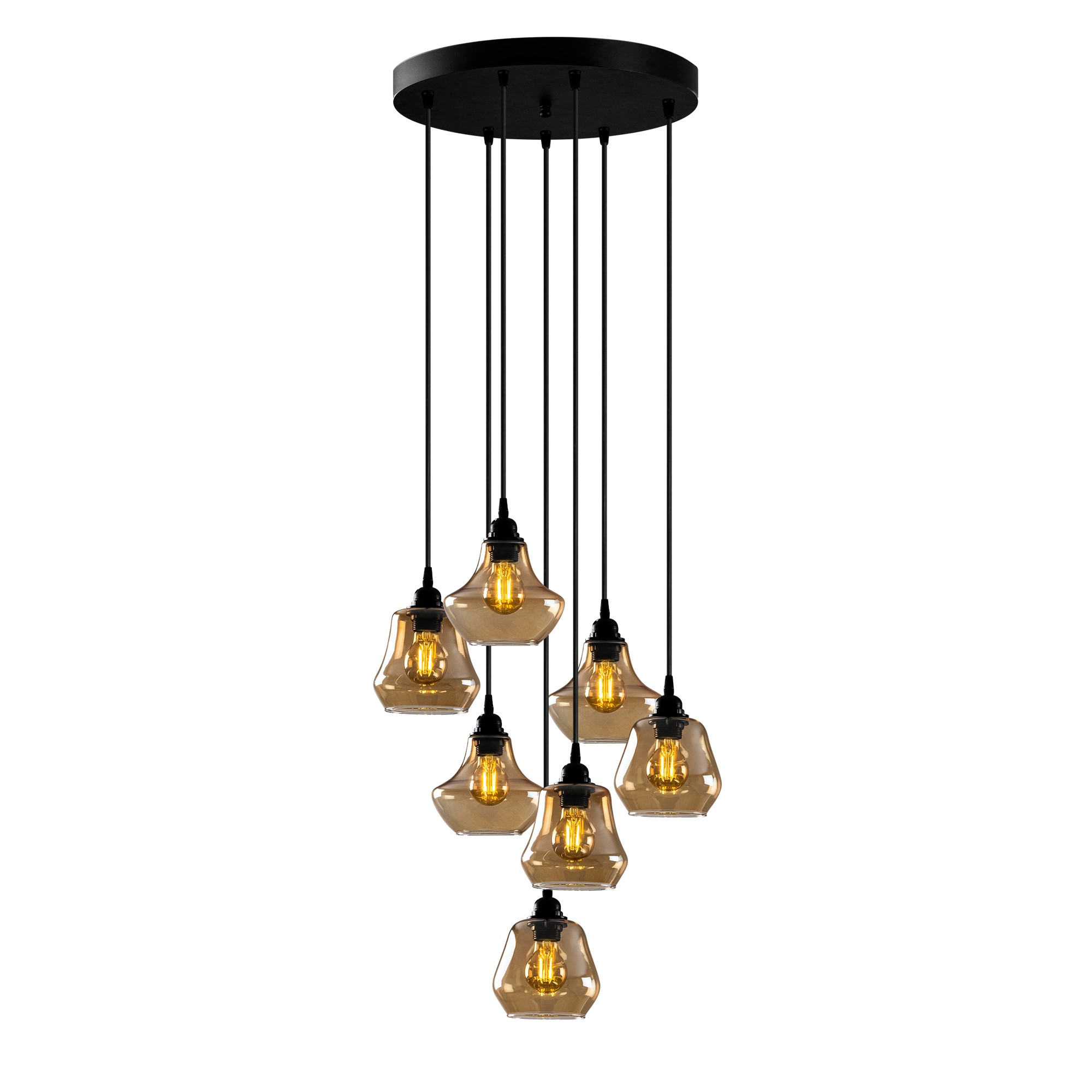 Hanglamp golden glass - goud glas 7 x E27 fitting - vooraanzicht lampen aan