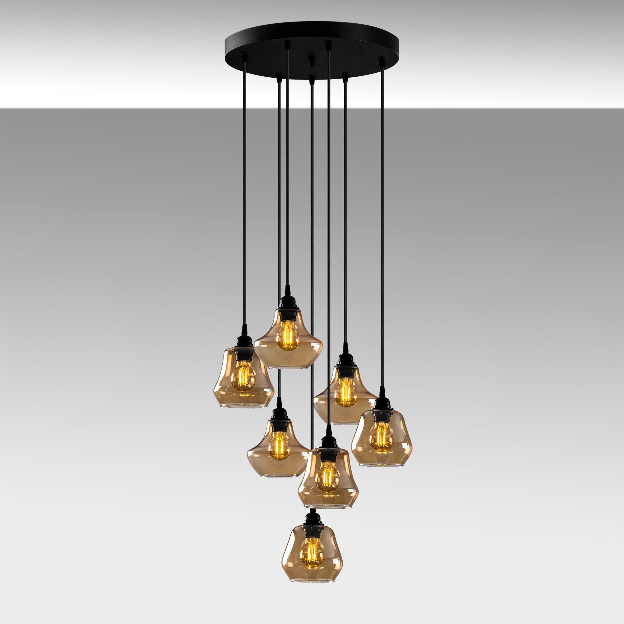 Hanglamp golden glass - goud glas 7 x E27 fitting - sfeerfoto