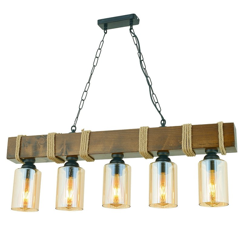 Hanglamp 5 keer E27 fitting hout glas hanglamp