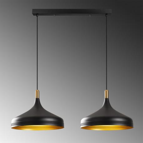 dubbele hanglamp industrieel zwart met gouden accenten